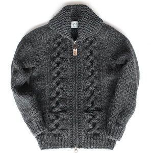 Granted Charcoal Chunky Wool Cowichan Zip Sweater